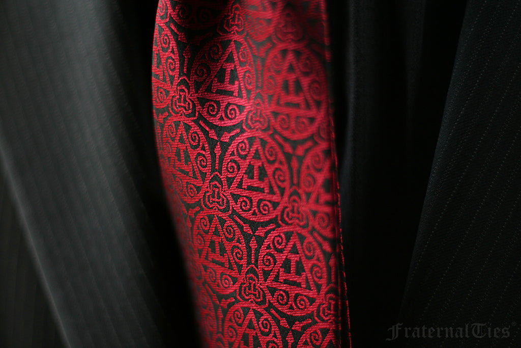 FraternalTies Royal Arch Masonry Triple Tau Masonic Necktie Red Trowel Designed by Freemason for Freemasons