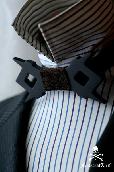 Square and Compasses Wood and Leather bowtie by FraternalTies