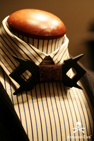 Square and Compasses Wood and Suede Leather bowtie by FraternalTies