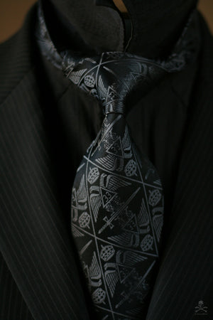 Ordo Ab Chao | 33° Scottish Rite Tie | Grey on Black Edition - FraternalTies