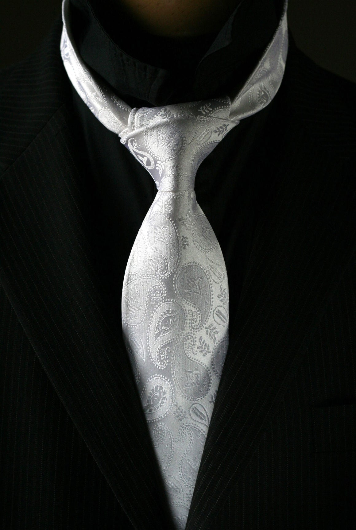 Masonic Paisley Tie - White Edition