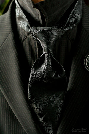 33° Scottish Rite Masonic Tie | Silver on Black