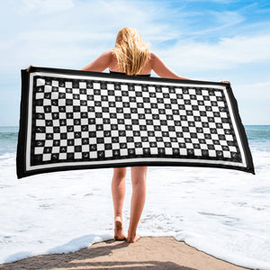 Working Tools and Checkered Floor Beach Towel