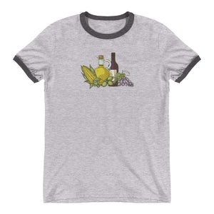 Corn, Oil, and Wine Ringer Tee
