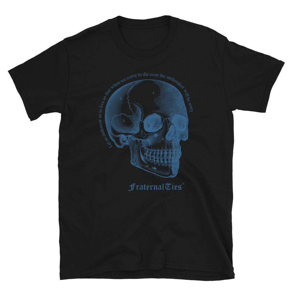 Memento Mori T-shirt Cyan on Black