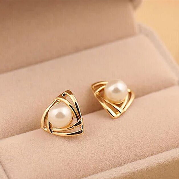 Trendy Pearl Geometric Triangle Earrings