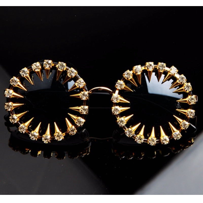 Cool Fashion Rhinestone Round Women Sunglasses