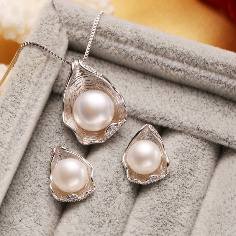 Freshwater Pearl Jewelry Sets Necklace Earrings Shell Design For Women