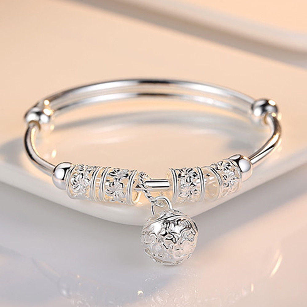 Charm Sterling Silver Stone Bangle Cuff Bracelet Jewelry