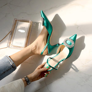 Trendy High Heel Rhinestone Buckle Sandals