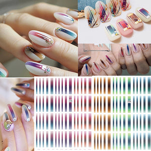 Gradient Striped Colorful Lines 3D Nail Art Sticke