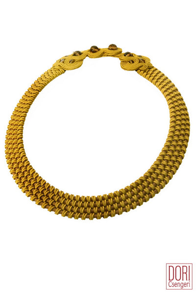 Amelie Trendy Mustard Collar Necklace