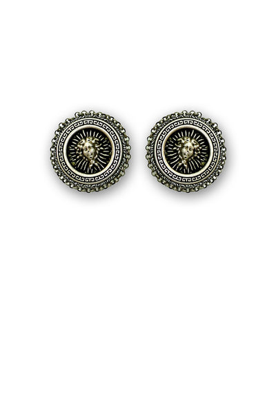 Retro Casual Silver/Grey Button Earrings