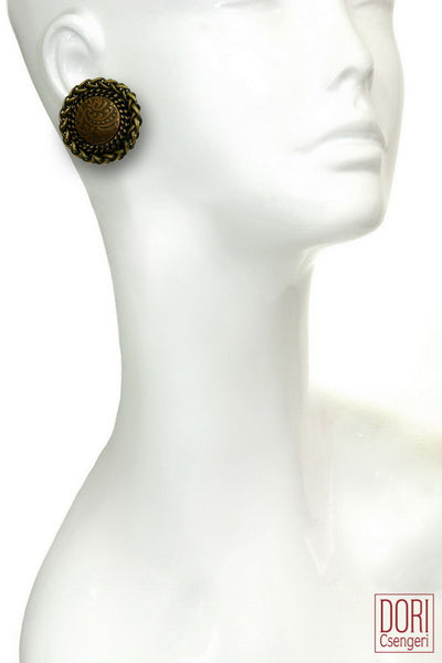 Retro Brown Easygoing Button Earrings
