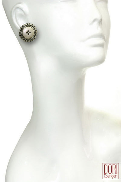 Retro Cool Silver/Grey Button Earrings