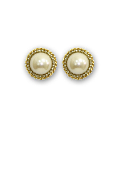 Retro Sophisticated Pearl Button Earrings