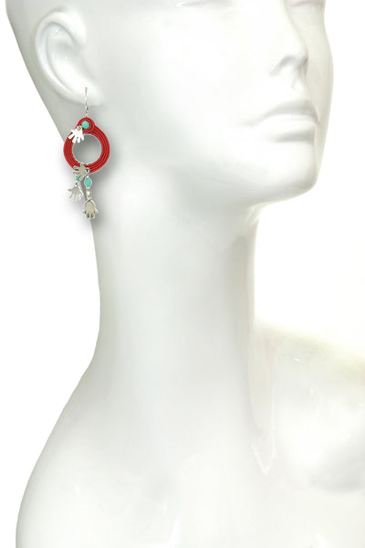 Hamsa Red String Hoop Earrings, Silver Hands