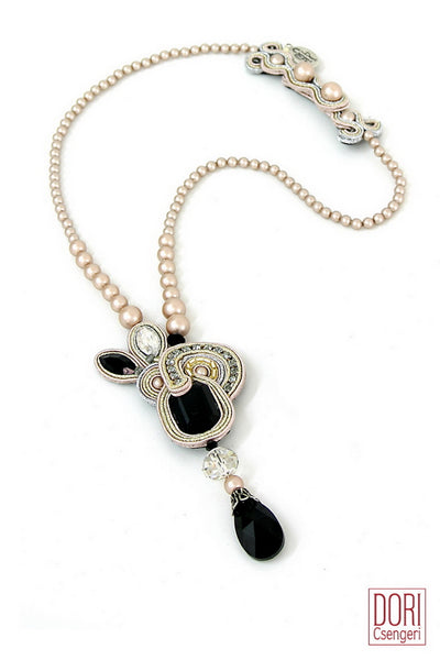 Desiree Pearl & Onyx Necklace