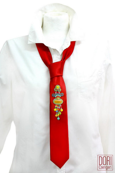 Dashing Red Resort Adorned Necktie