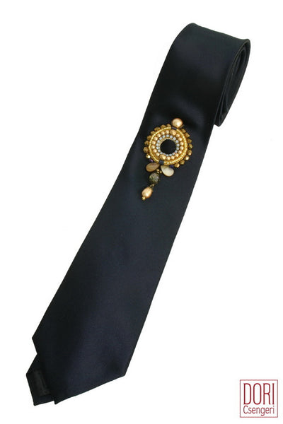 Dashing Black Freestyle Adorned Necktie