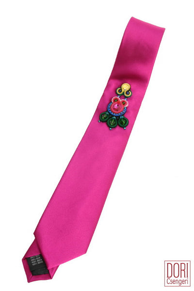 Dashing Fuchsia Party Adorned Necktie