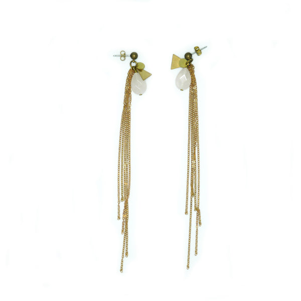 Baies d'Erelle SIN – THE LIGHT LONG Rosenquarz earring, Ohrstecker