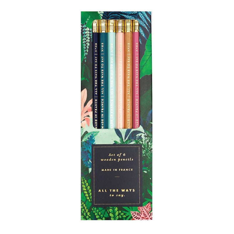 ALL THE WAYS TO SAY PALM WILD, Pencil Set of six, Made in France, Gift