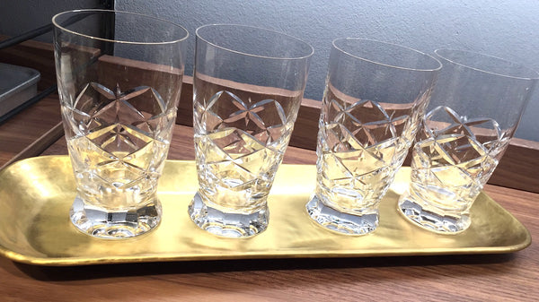 CRYSTAL CUT GLASSES, 4 Stück, vintage, Mid-Century Modern Style Gift