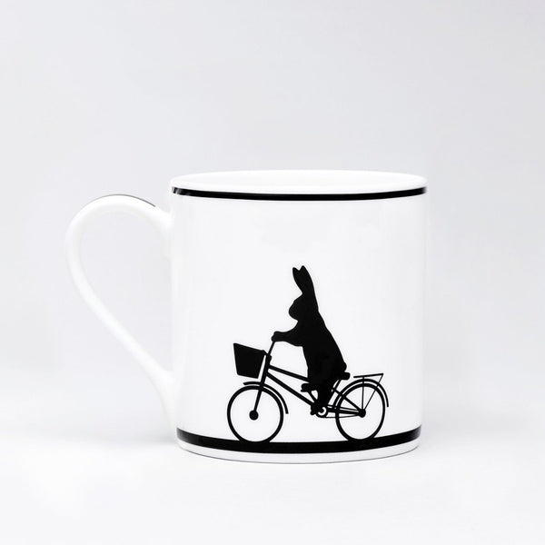 HAM, PORZELLANTASSE, Cycling rabbit, Tea Mug, Gift idea, handpainted
