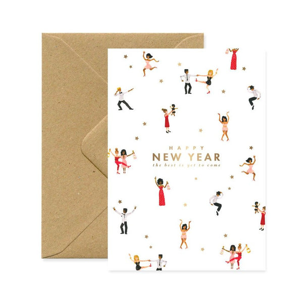 ALLTHEWAYSTOSAY HAPPY NEW YEAR DANCERS greeting Card Made in France
