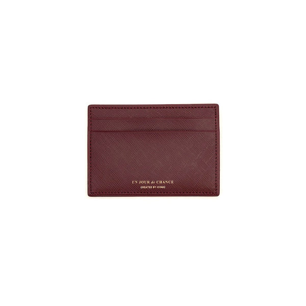 ICONIC Flat CARD POCKET weinrot Made in Korea Geschenk Gift