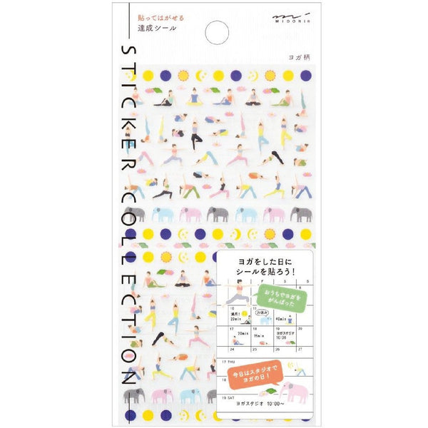 MIDORI STICKERS YOGA Planner stick Design gift Made in Japan