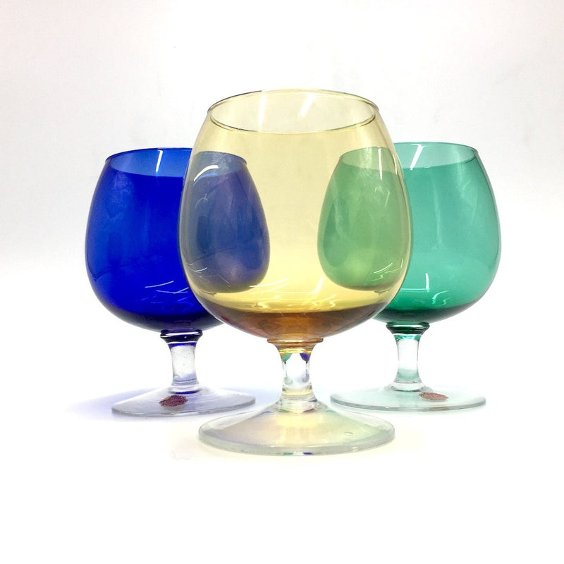 COLORFUL SET OF SIX MURANO GLASSES vintage Mid-Century Modern Style