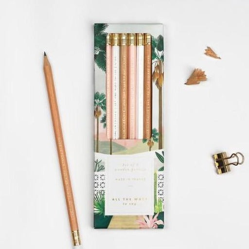 ALLTHEWAYSTOSAY PALM SPRINGS Pencil Set of six, Made in France, Gift