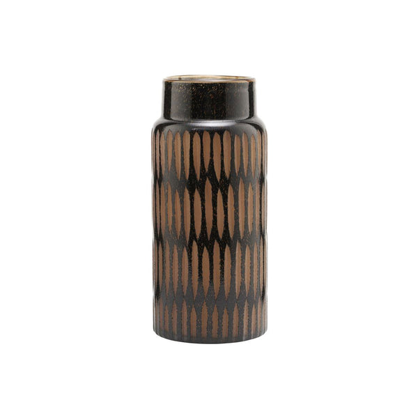 Glas Vase PIMPRI, Black/Brown, Geschenkidee Homedecoration Retrodesign
