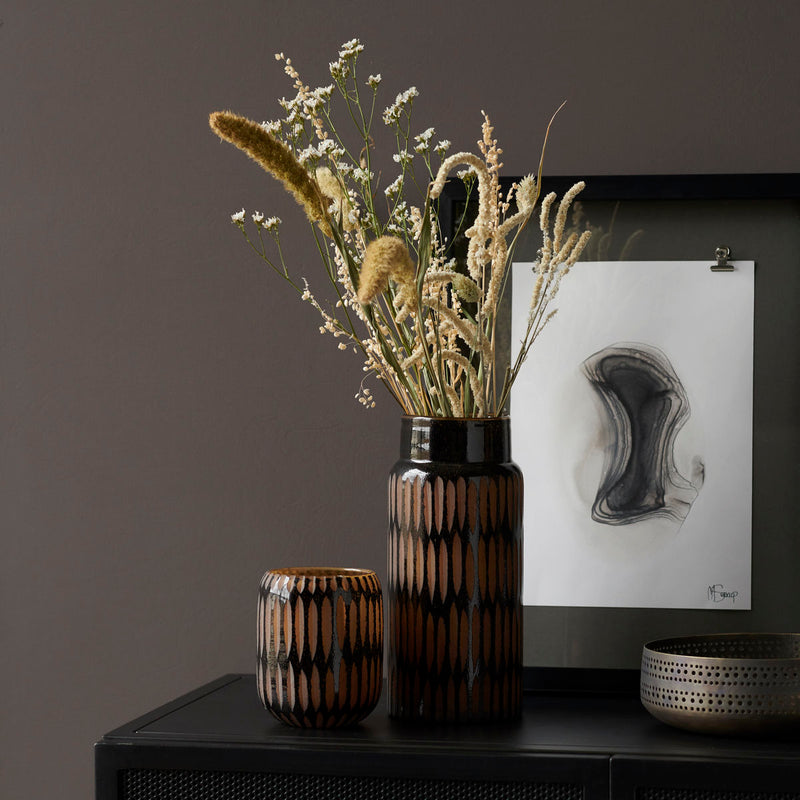 Kleine Glasvase PIMPRI Black/Brown Geschenk Homedecoration Retrodesign
