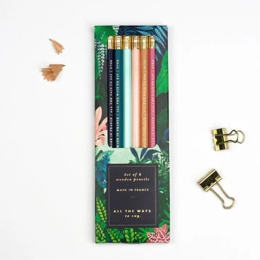 ALLTHEWAYSTOSAY PALM WILD, Pencil Set of six, Made in France, Gift