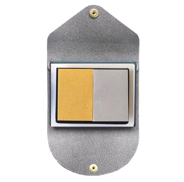 YAMAMA LEATHER COVER LIGHT GREY - STICKY NOTES GOLD SILVER