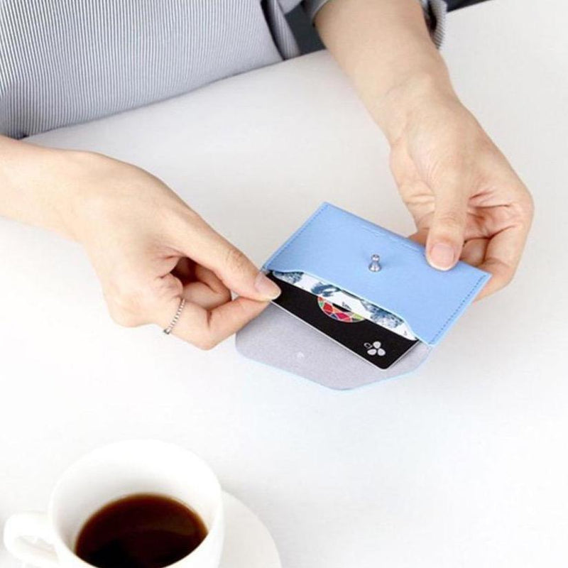 ICONIC SLIT NECK CARD POCKET skyblue Made in Korea Geschenk Gift