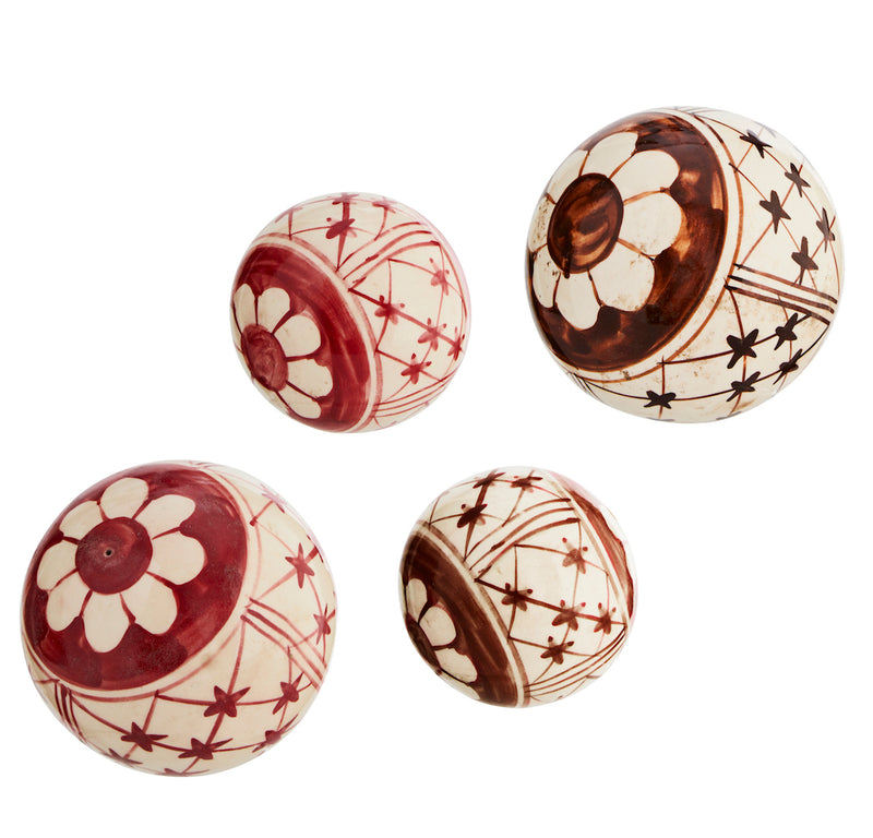 HAND DECORATED STONE BALLS two sizes/colors