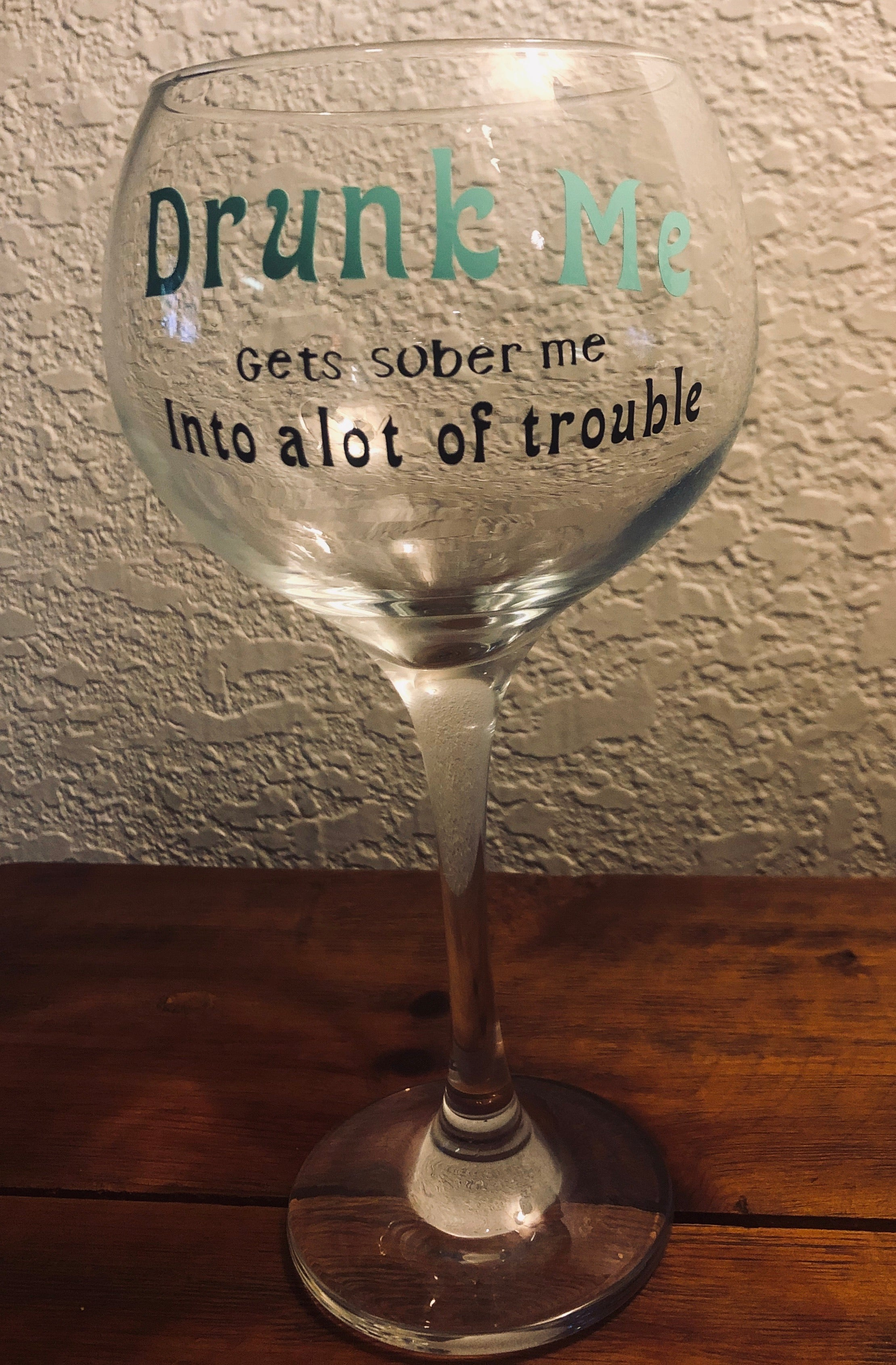 Large Wine Glass Decorated
