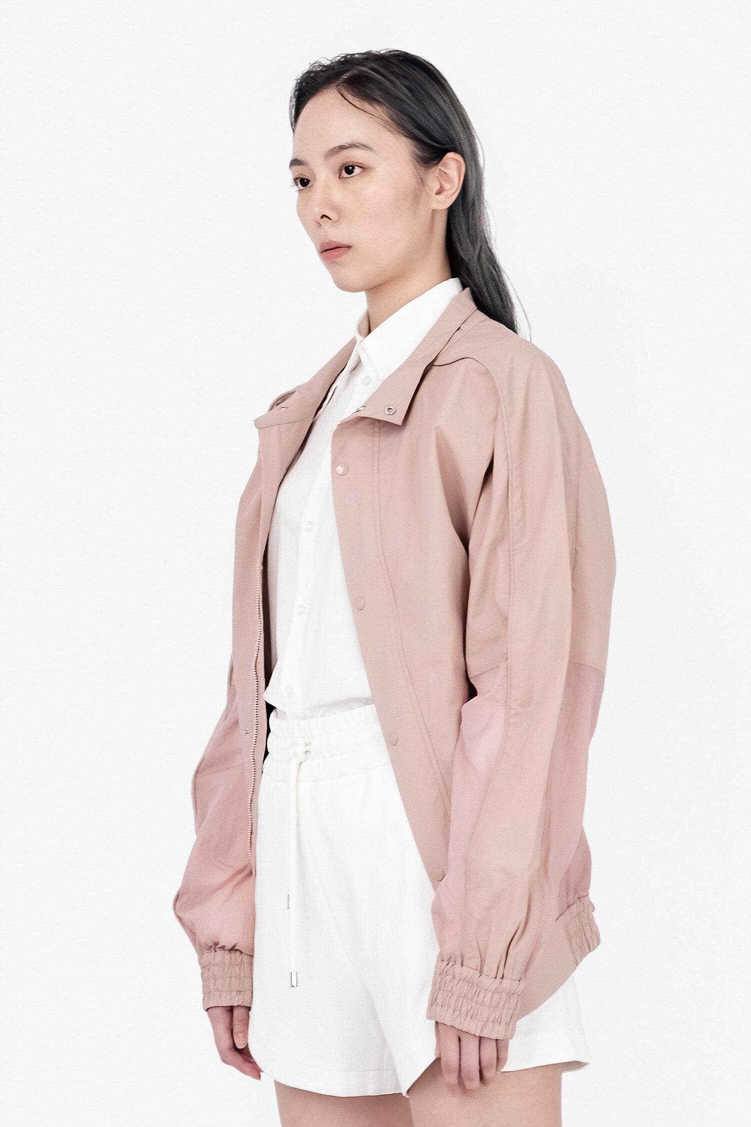 SEANNUNG - 藕粉色異材質拼接夾克 Mixed Material Bomber Jacket in Lotus Color - Woman