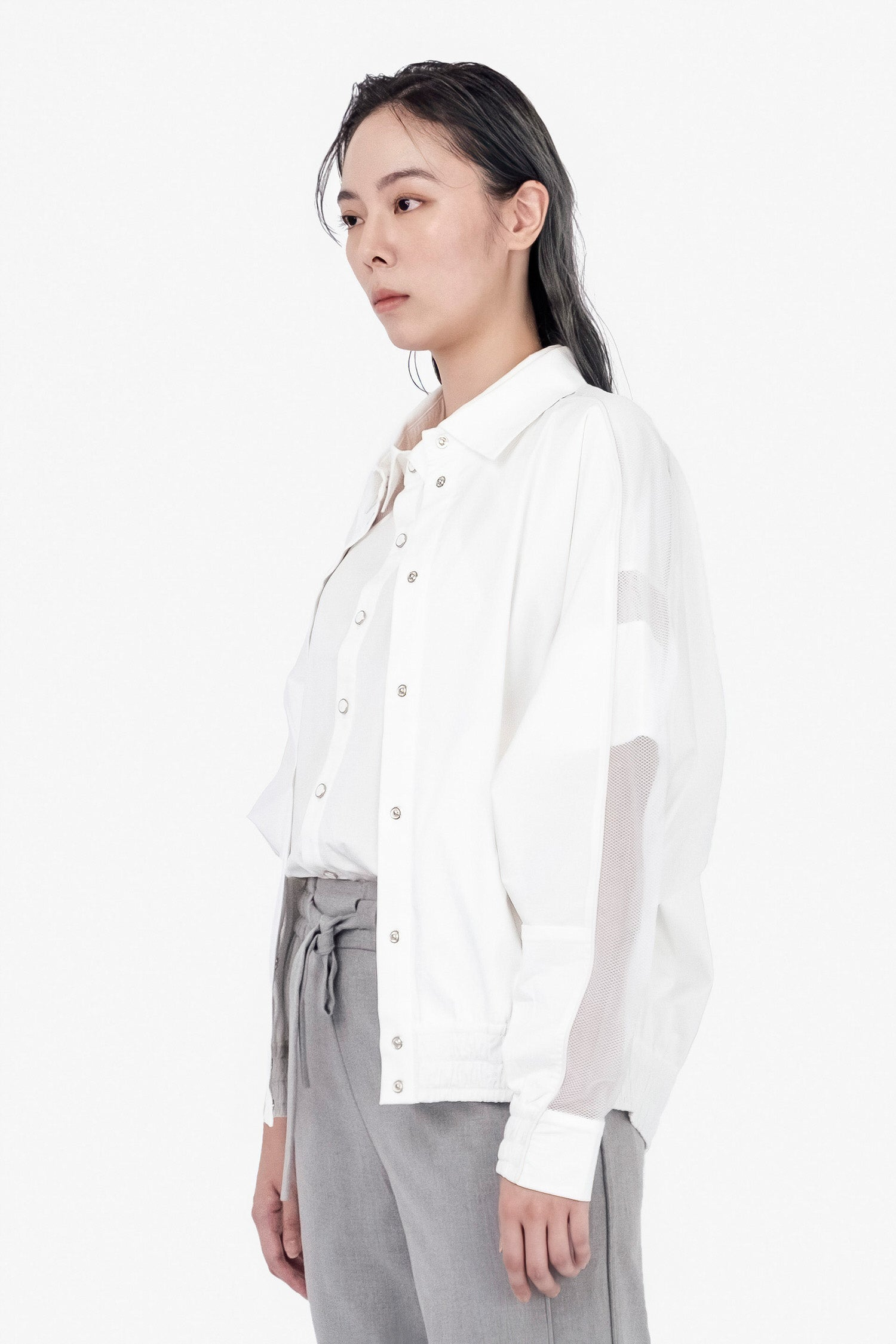 SEANNUNG - 披風連袖外套 Batwing Sleeve Cape Jacket in White - Woman