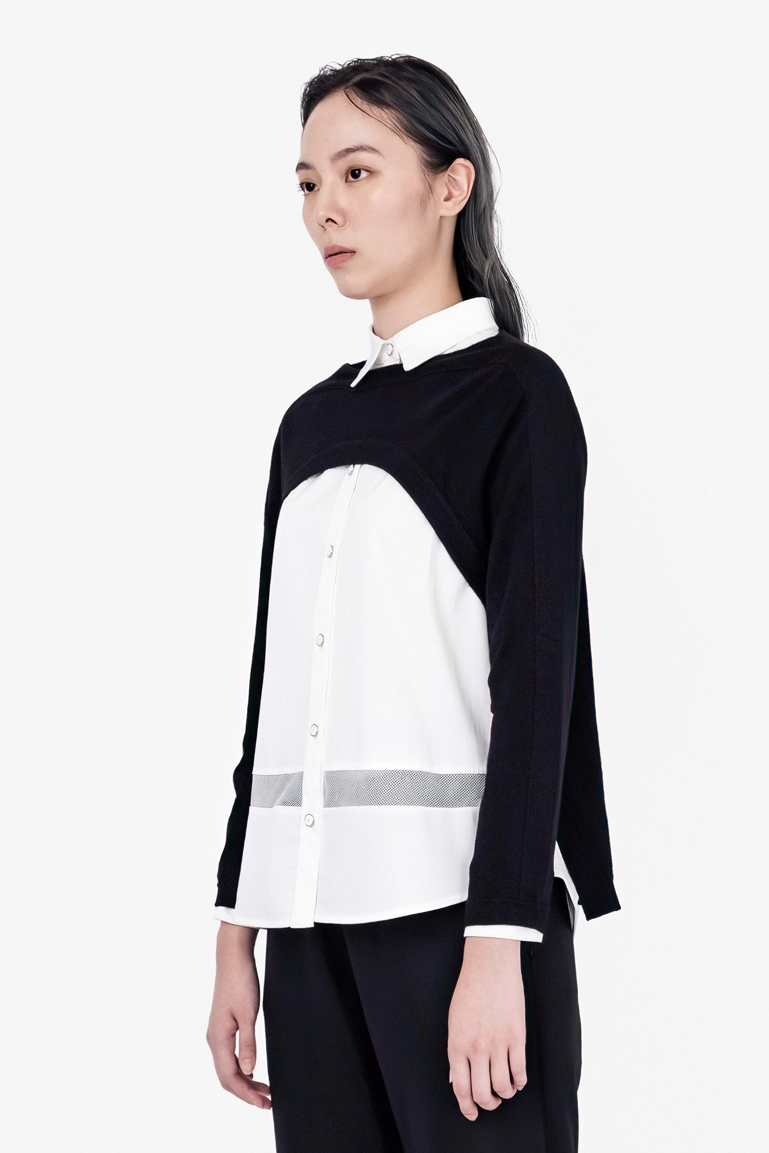 SEANNUNG - 長袖披風罩衫 Asymmetric Long Sleeve Jumper - Woman