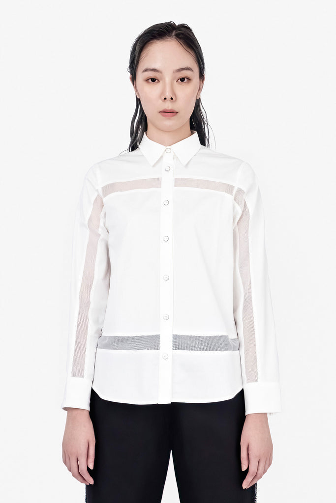 SEANNUNG - 網布拼接長袖襯衫 Long Sleeve Mesh Shirt - Woman