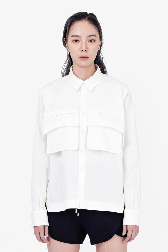 SEANNUNG - 雙口袋短版襯衫 Double-Pocket Shirt - Woman