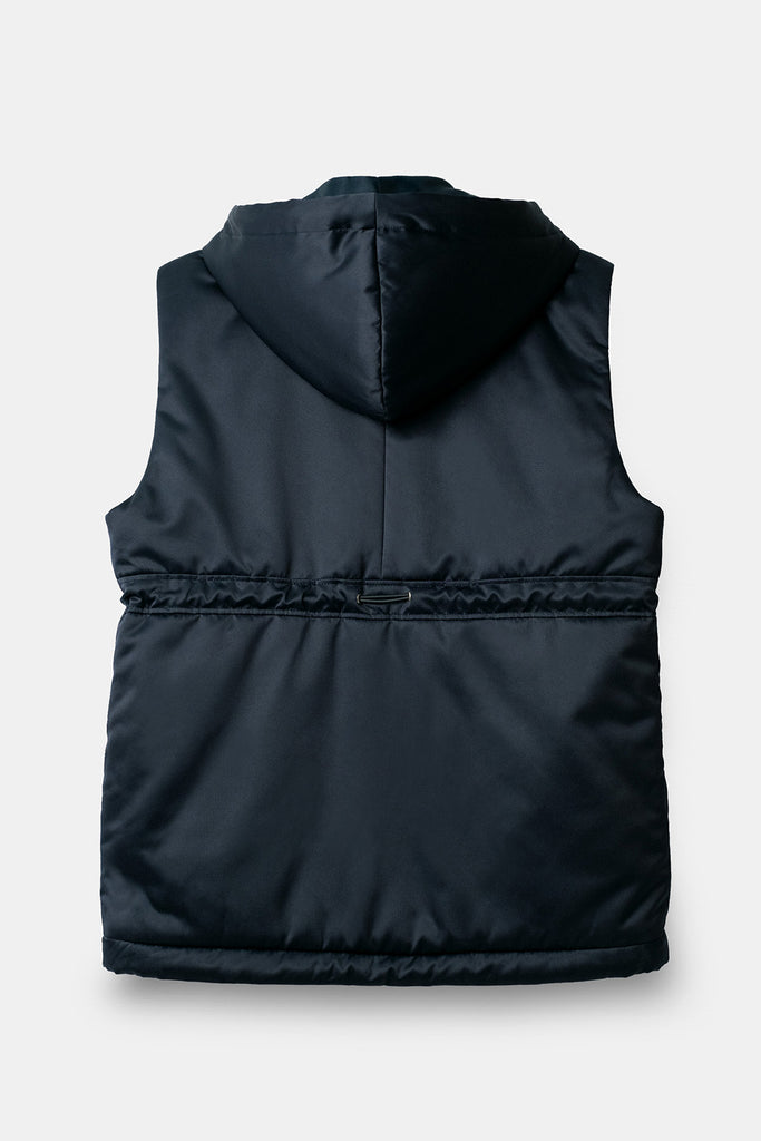 Circle Patch Pocket Sleeveless Quilted Jacket in Navy