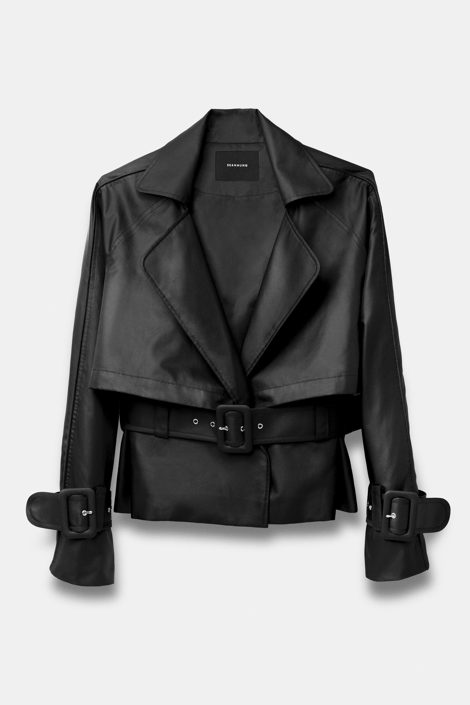 SEANNUNG - 黑色短版雙層綁帶風衣 Double Layered Blazer with Belt in Black - Woman