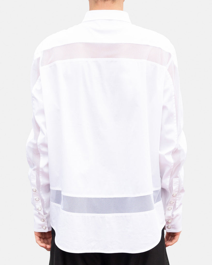 SEANNUNG - 網布拼接長袖襯衫 Long Sleeve Mesh Shirt - Men