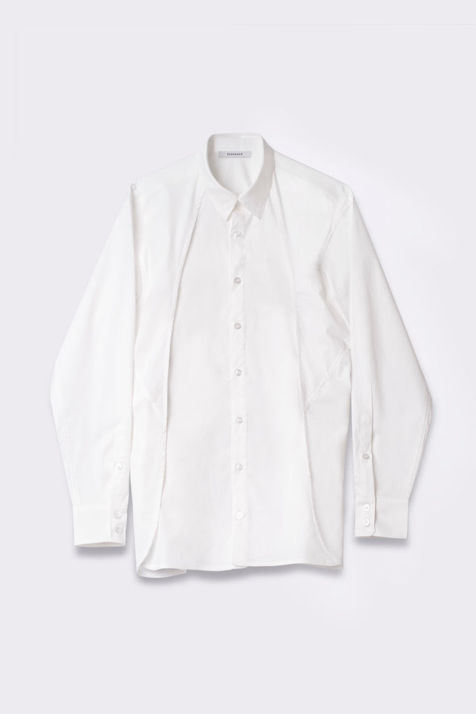 Double Layered Shoulder Detail Shirt in White